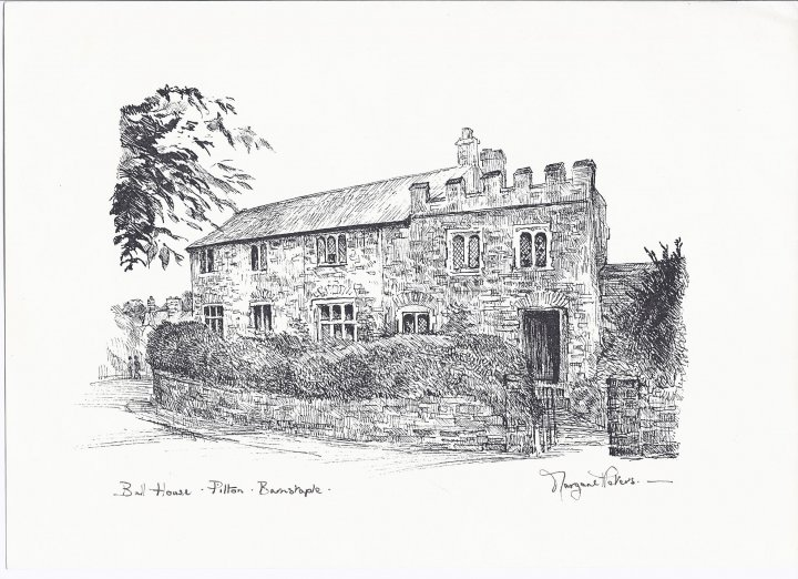 Drawing of Bull Hill House, Pilton, Barnstaple by Margaret Peters